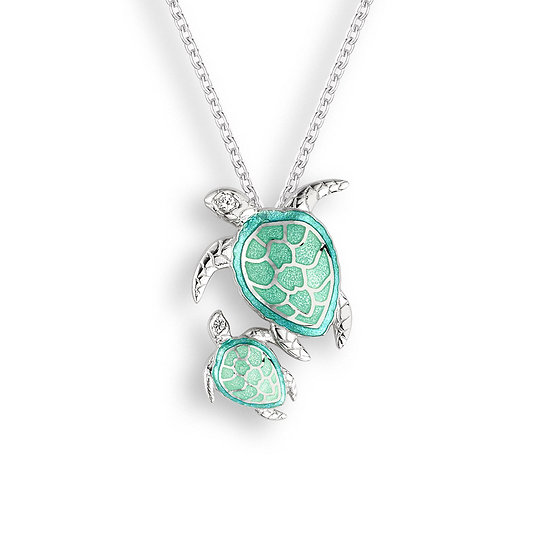 Sterling Silver Baby Sea Turtle Necklace, White Sapphires