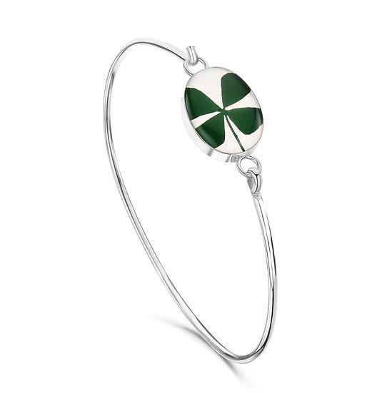 Four leaf clover Silver Bangle