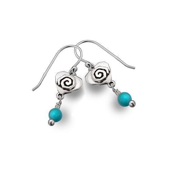 Celtic Spiral heart earrings with gemstone dropper