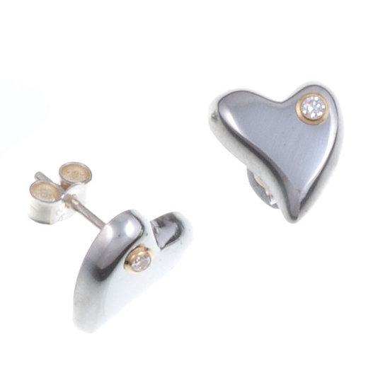 Diamond Heart stud earrings, Cornish Tin