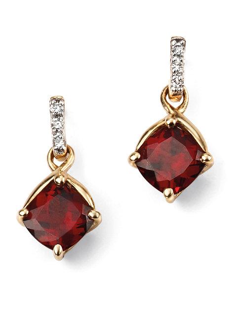 Garnet Drop Earrings with Diamonds