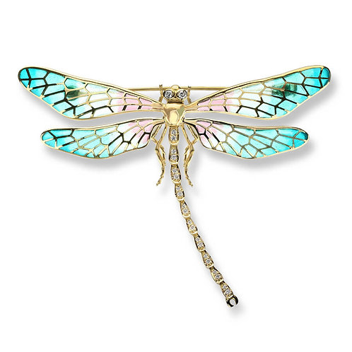 18 Carat Gold Large Turquoise Dragonfly Brooch with Diamonds