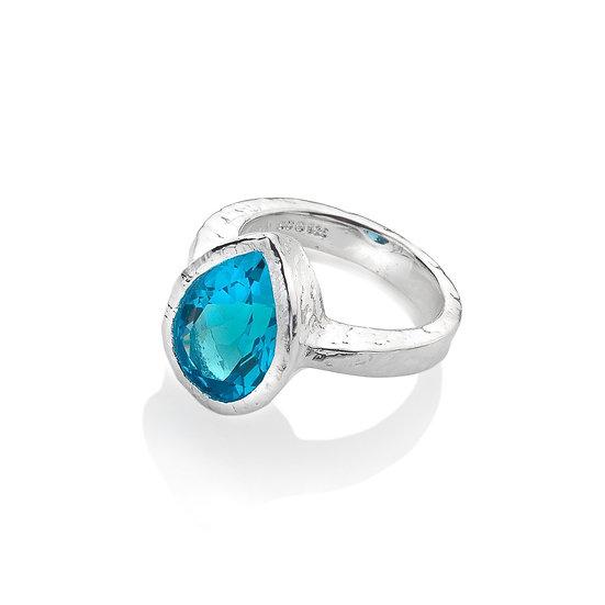 Ocean Droplet Topaz Ring