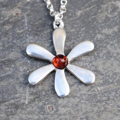 Jasmine Flower Pendant, Amethyst, Amber or Turquoise