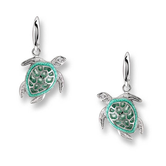 Sterling Silver Sea Turtle Wire Earrings, White Sapphires