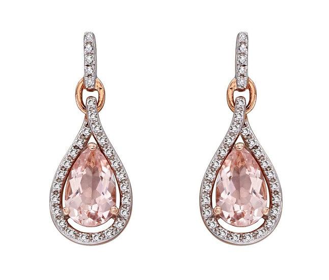 Morganite Tear Drop Earrings, 9ct Rose Gold