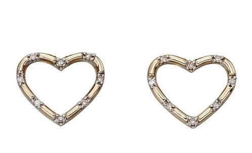 Yellow Gold Diamond Heart Stud Earrings