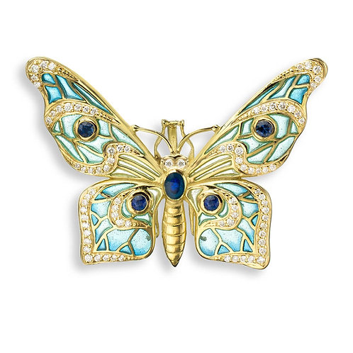 18 Carat Gold Butterfly Necklace with Diamonds & Blue Sapphires