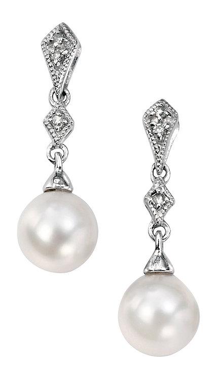Vintage style Diamond and Pearl earrings