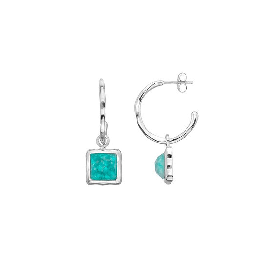 Blue Bay Hoops with Amazonite
