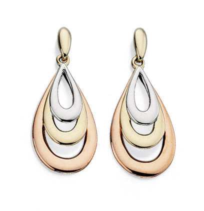 Yellow, White and Rose Gold Teardrop Earrings