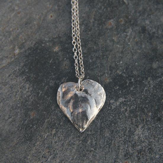 Violet Leaf Heart Pendant, Medium or Large, Natural Silver