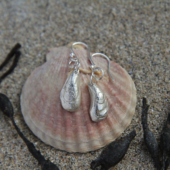 Mussel Shell Earrings, Natural Silver