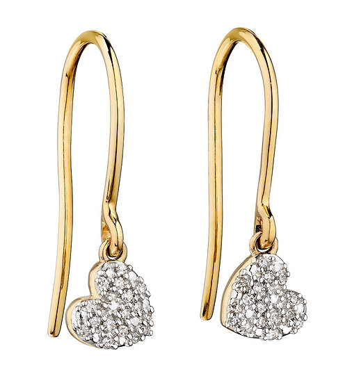 Diamond and Yellow Gold Swinging Heart Earrings, 9ct Gold