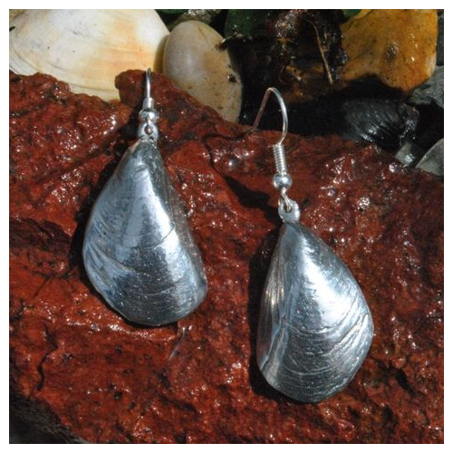 Mussel Shell Earrings, pewter