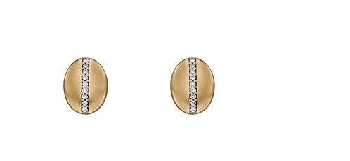 Diamond Channel Oval Stud Earrings