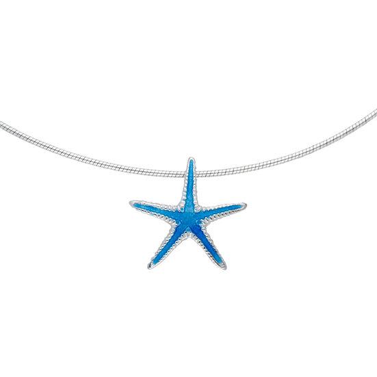 Silver enamelled starfish pendant