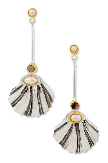 Scallop Shell Earrings with Iolite and Pearl