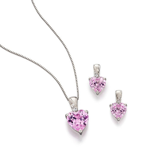 Pink Crystal Sapphire Heart Set, 9ct Gold
