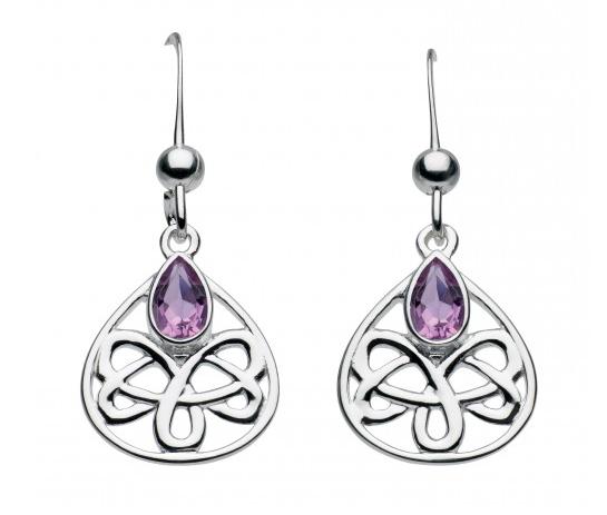 Celtic Silver Alana Looped Teardrop Earrings with Amethyst, drops or studs
