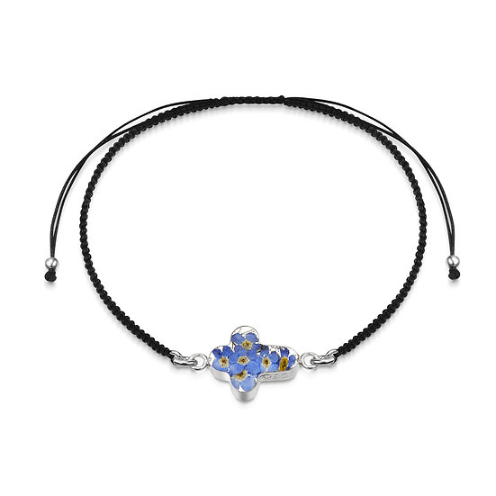 Black cord bracelet with Real Flower Cross charm, Silver