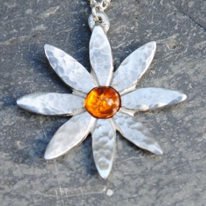 Lily Pendant, Amber or Turquoise