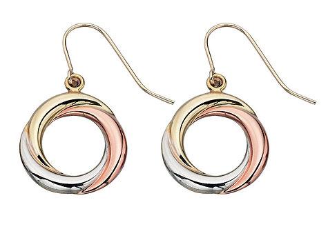 Triple Gold, Russian Ring style Earrings