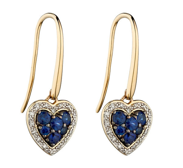Sapphire and Diamond Heart Earrings, 9ct Gold