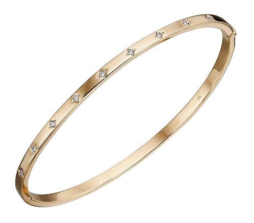 Starburst Set Diamond Hinge Clasp Bangle