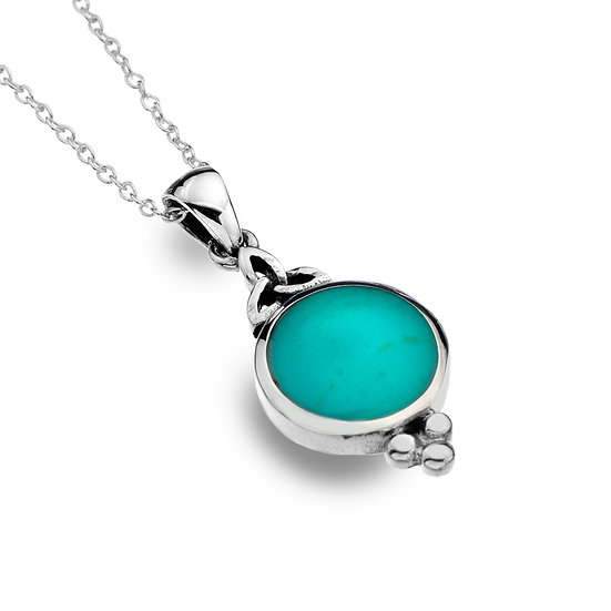 Celtic Trinity Pendant with Moonstone or Turquoise