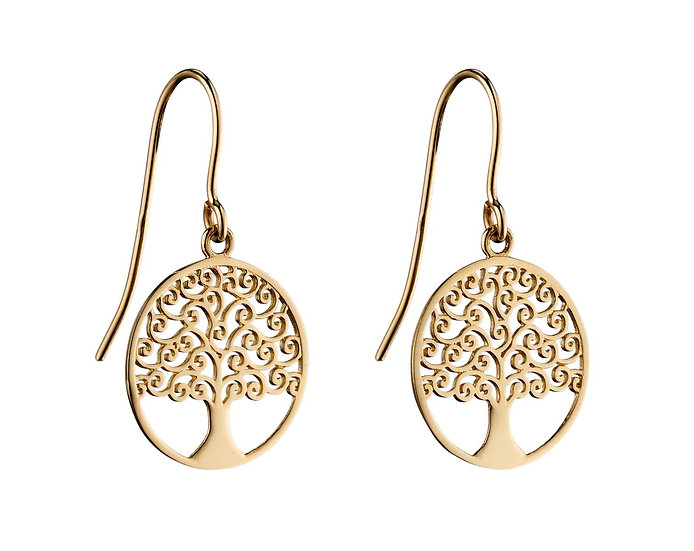 Tree of Life Earrings, 9ct Gold