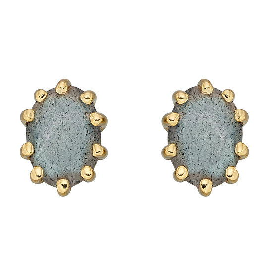 Blue Labradorite Gold Plated Stud Earrings