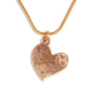 Heartbeat - Tiny Beaten Heart Pendant, Bronze