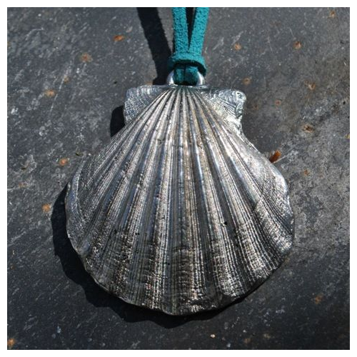 Scallop Shell Pendant, pewter