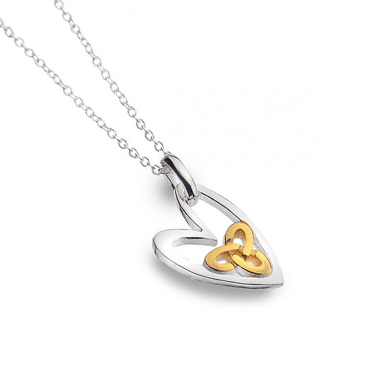 Silver heart with Gold Trinity Knot Pendant