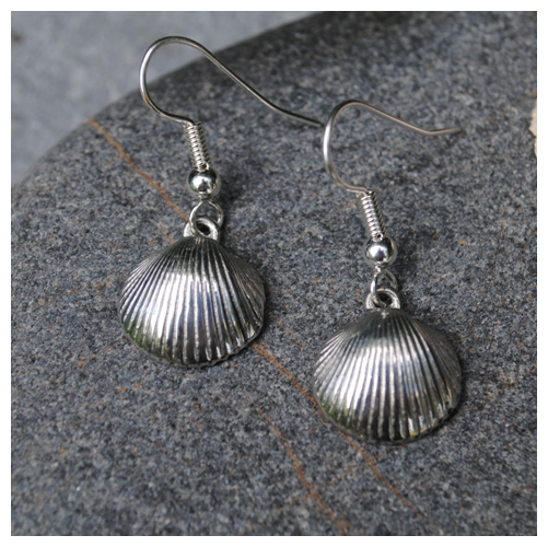 Cockle Shell Earrings, pewter