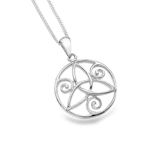 Round Pendant with Celtic Trinity and Spirals