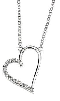 White Gold Pave Diamond Open Heart Necklace