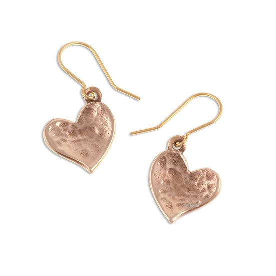 Heartbeat beaten heart drop earrings, bronze