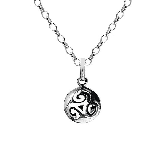 Celtic Triskele solid round pendant