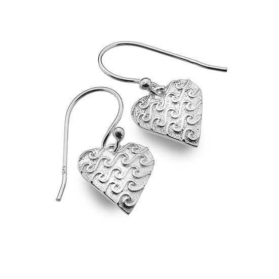 Heart with Waves Silver Earrings, studs or drops