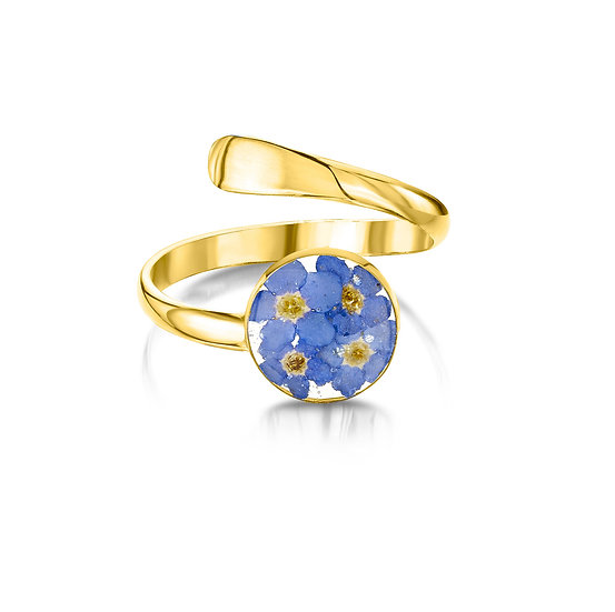 Adjustable Silver Ring with Real Flowers, Gold Plated