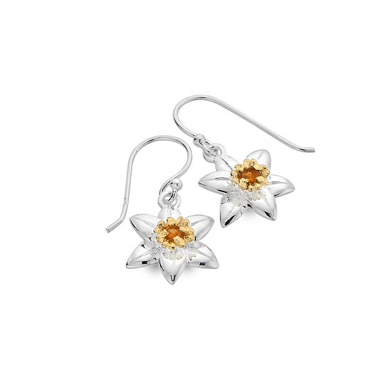 Daffodil Earrings with Citrine, Studs or Drops