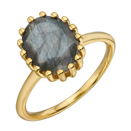 Blue Labradorite Gold Plated Ring