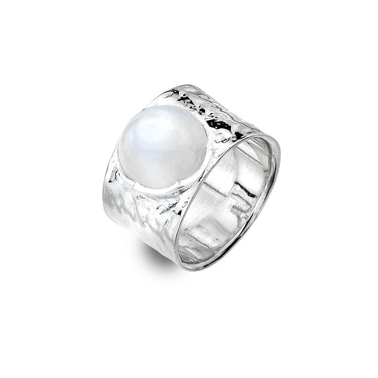 Treasure Ring with Moonstone or Blue Chalcedony