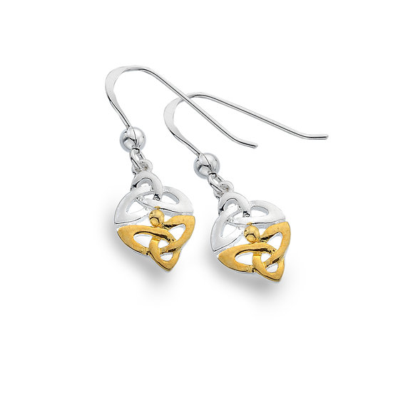 Celtic Triscele Earrings Silver with Gold Plate, Studs or Drops