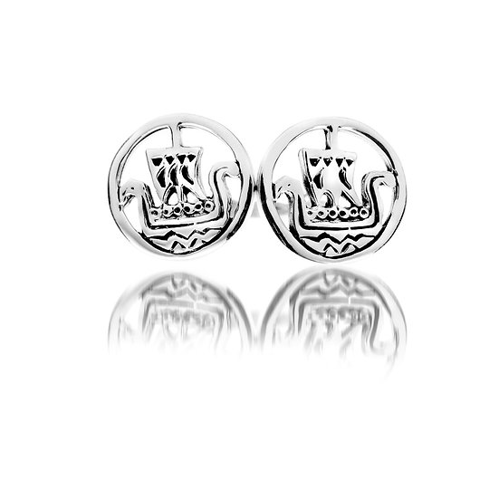 Silver Viking Ship Earrings (studs or drops)