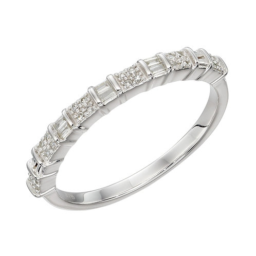 Baguette Bar Diamond Ring in White Gold