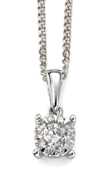 White Gold Diamond Cluster Pendant