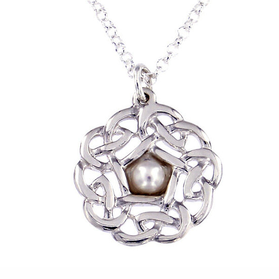 Silver Pentagon knot small pendant with pearl
